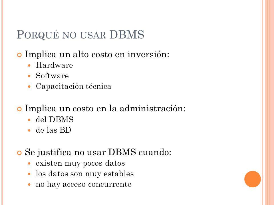 Porqué no usar DBMS Implica un alto costo en inversión: