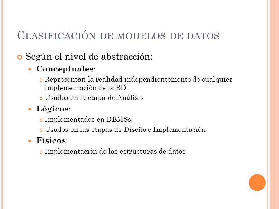 Clasificación de modelos de datos