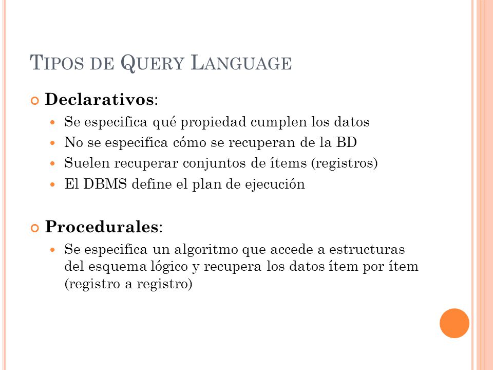 Tipos de Query Language