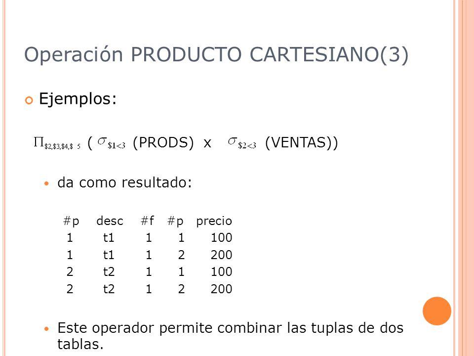 Operación PRODUCTO CARTESIANO(3)