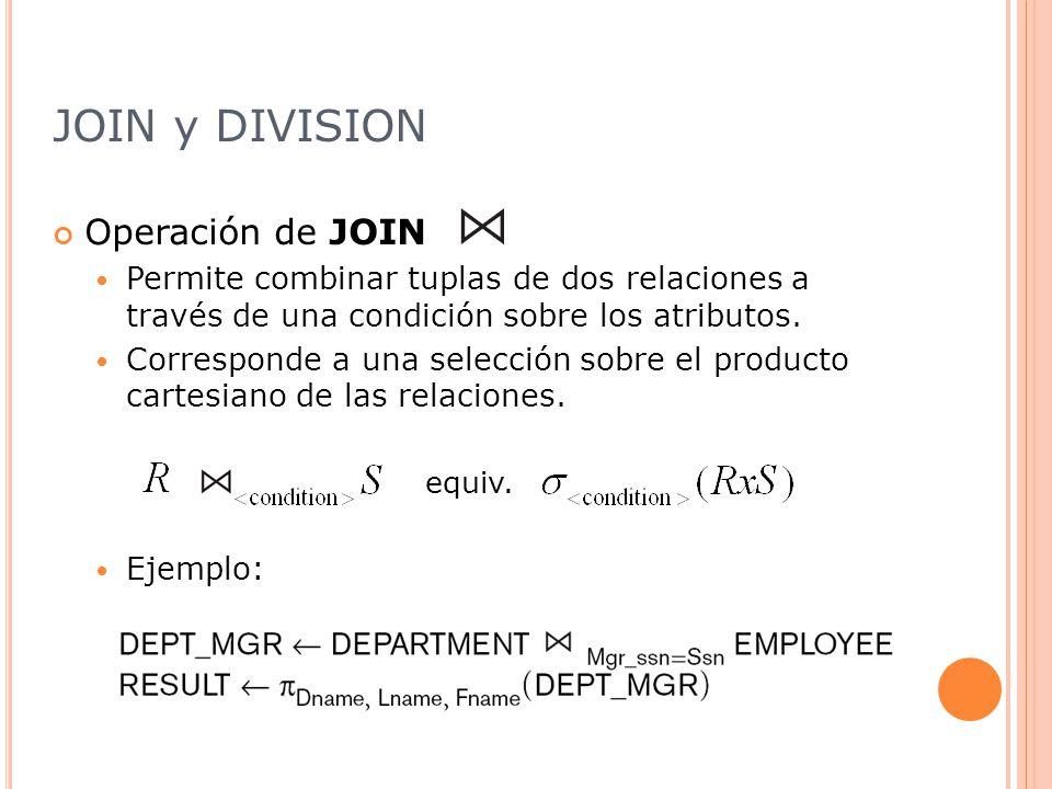 JOIN y DIVISION Operación de JOIN