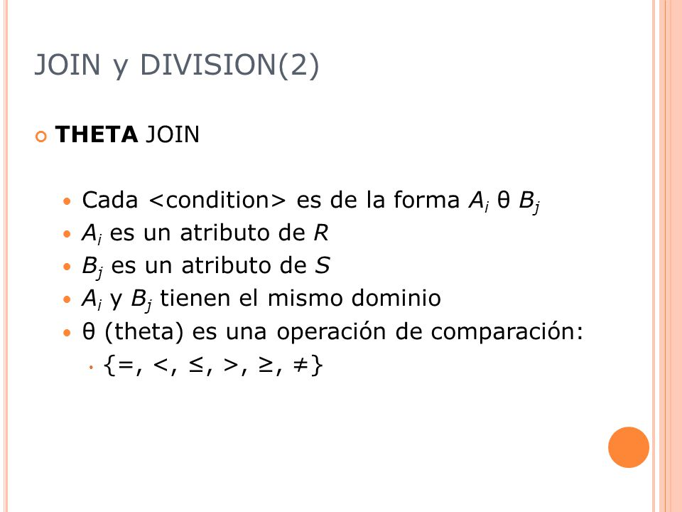 JOIN y DIVISION(2) THETA JOIN