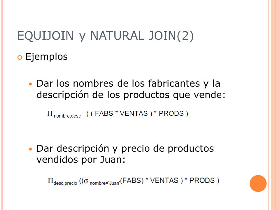 EQUIJOIN y NATURAL JOIN(2)