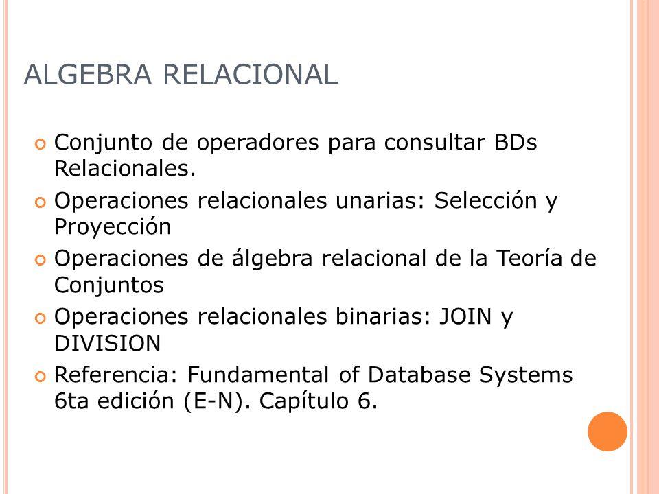 ALGEBRA RELACIONAL Conjunto de operadores para consultar BDs Relacionales. Operaciones relacionales unarias: Selección y Proyección.