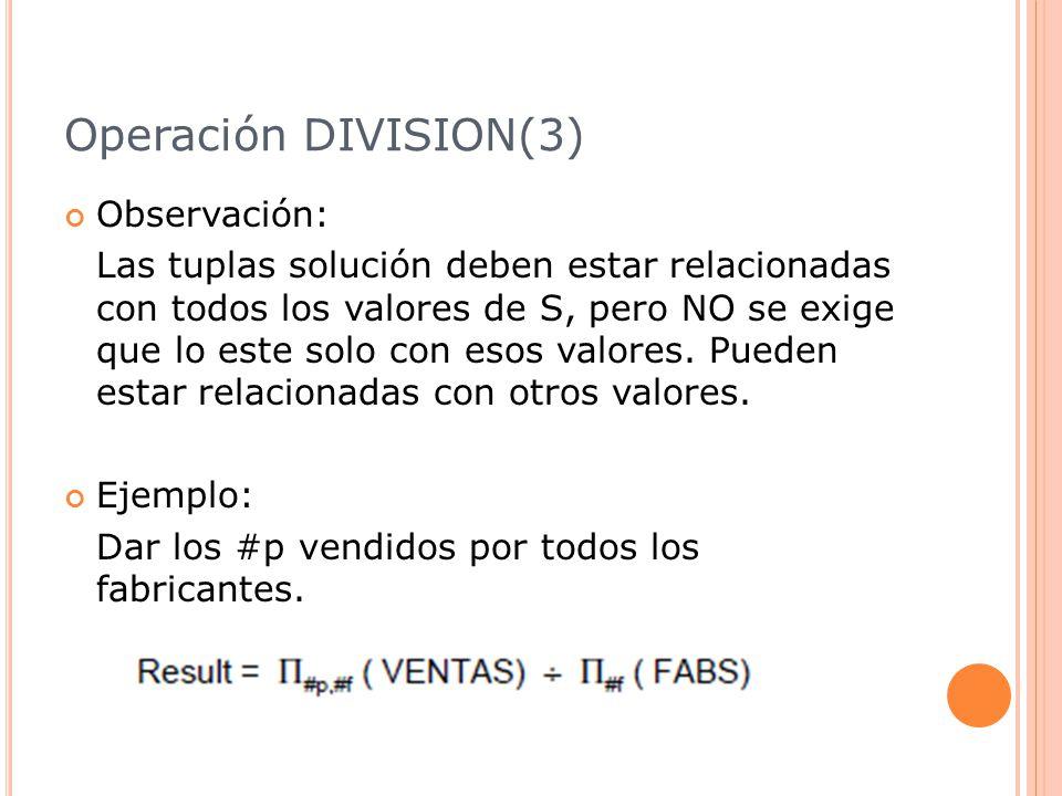 Operación DIVISION(3) Observación: