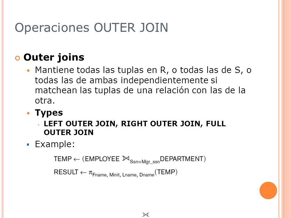 Operaciones OUTER JOIN