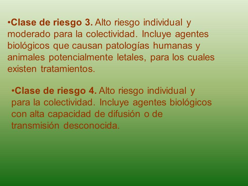 Clase de riesgo 3. Alto riesgo individual y moderado para la colectividad. Incluye agentes biológicos que causan patologías humanas y animales potencialmente letales, para los cuales existen tratamientos.