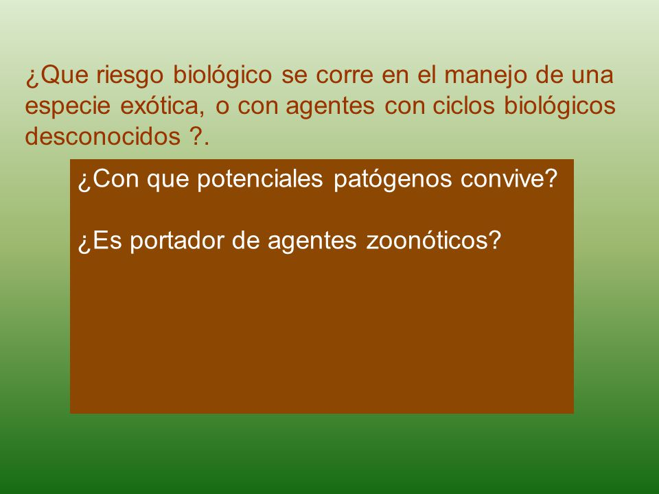 ¿Que riesgo biológico se corre en el manejo de una especie exótica, o con agentes con ciclos biológicos desconocidos .