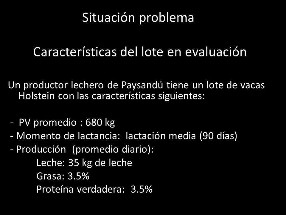 Situación problema Características del lote en evaluación