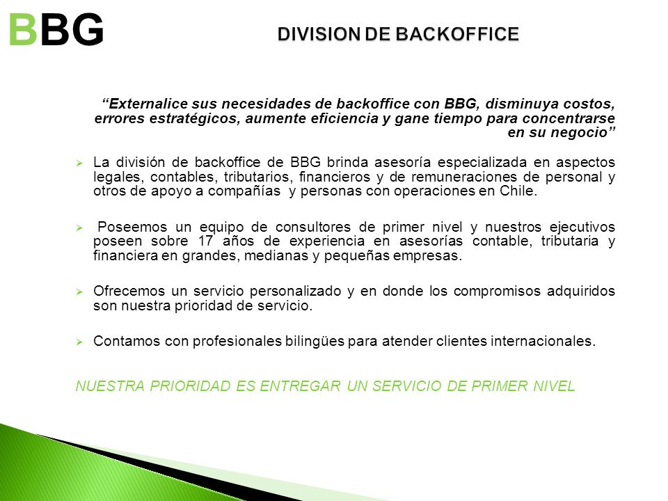 DIVISION DE BACKOFFICE