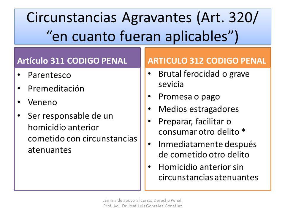 Circunstancias Agravantes (Art. 320/ en cuanto fueran aplicables )