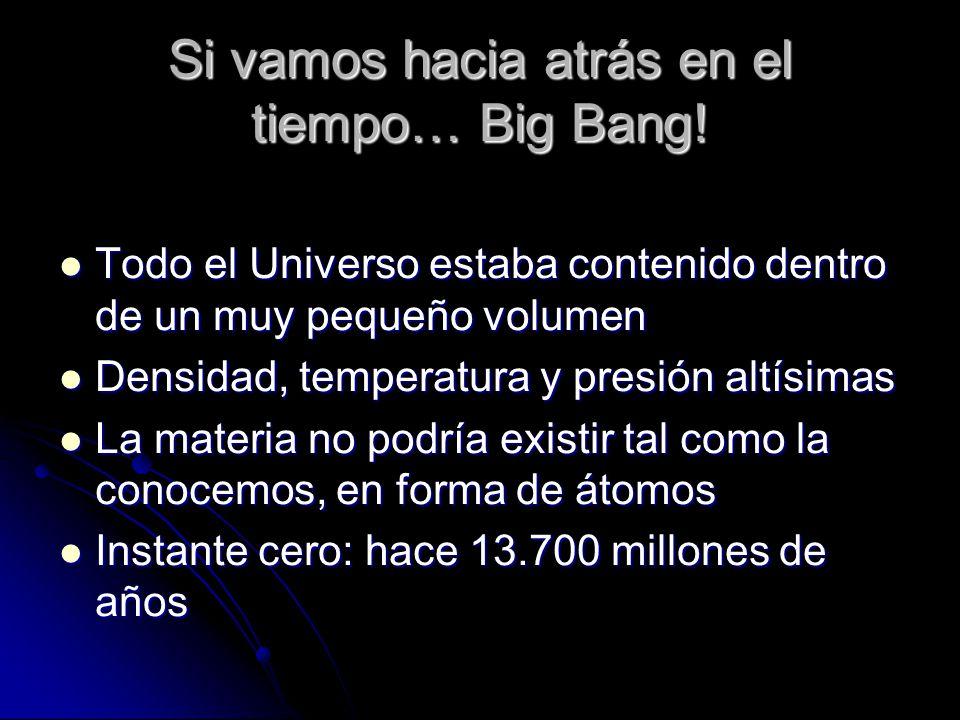 Si vamos hacia atrás en el tiempo… Big Bang!