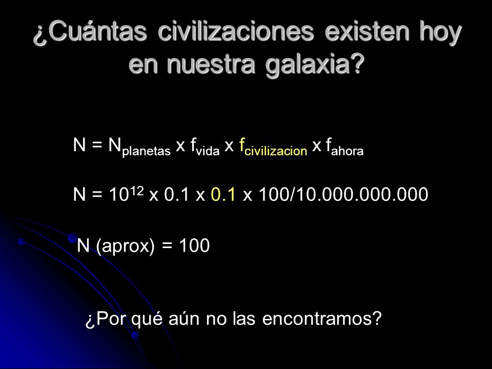 ¿Cuántas civilizaciones existen hoy en nuestra galaxia