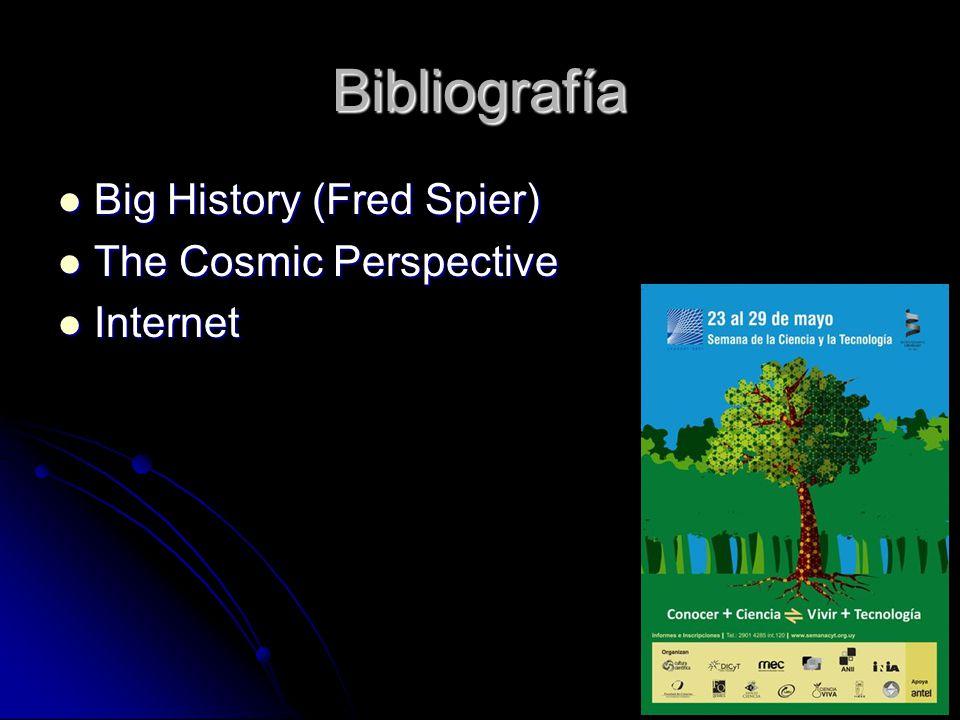Bibliografía Big History (Fred Spier) The Cosmic Perspective Internet