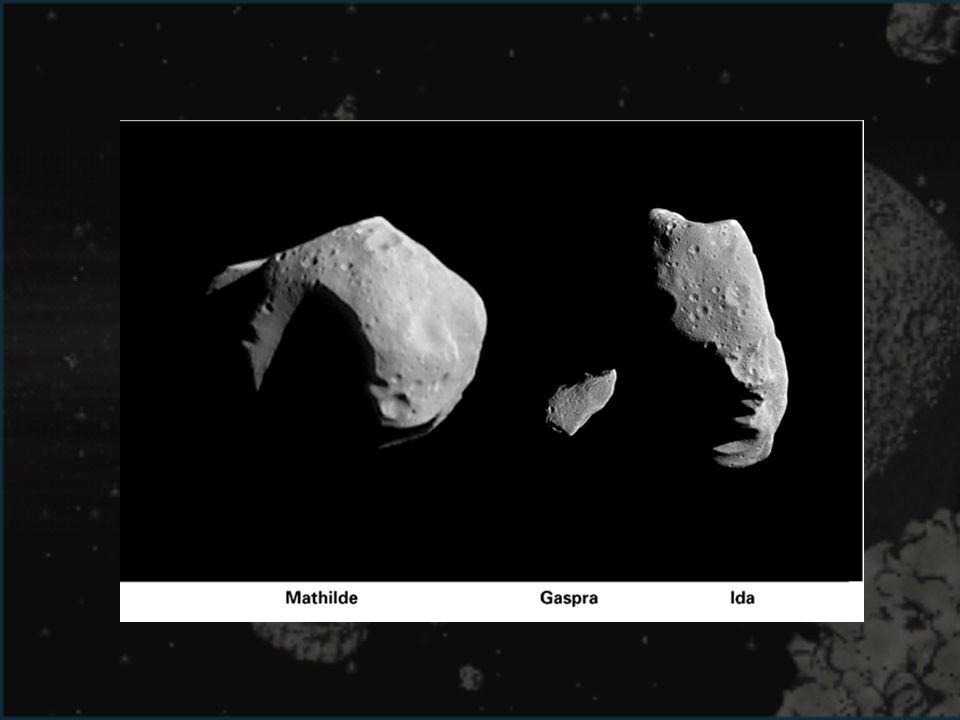 Imagen comparativa de los tamaños de los 3 primeros asteroides visitados por sondas espaciales.