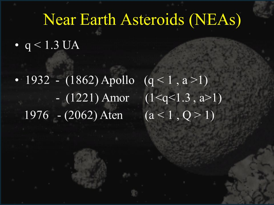 Near Earth Asteroids (NEAs)