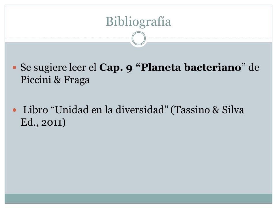 Bibliografía Se sugiere leer el Cap. 9 Planeta bacteriano de Piccini & Fraga.