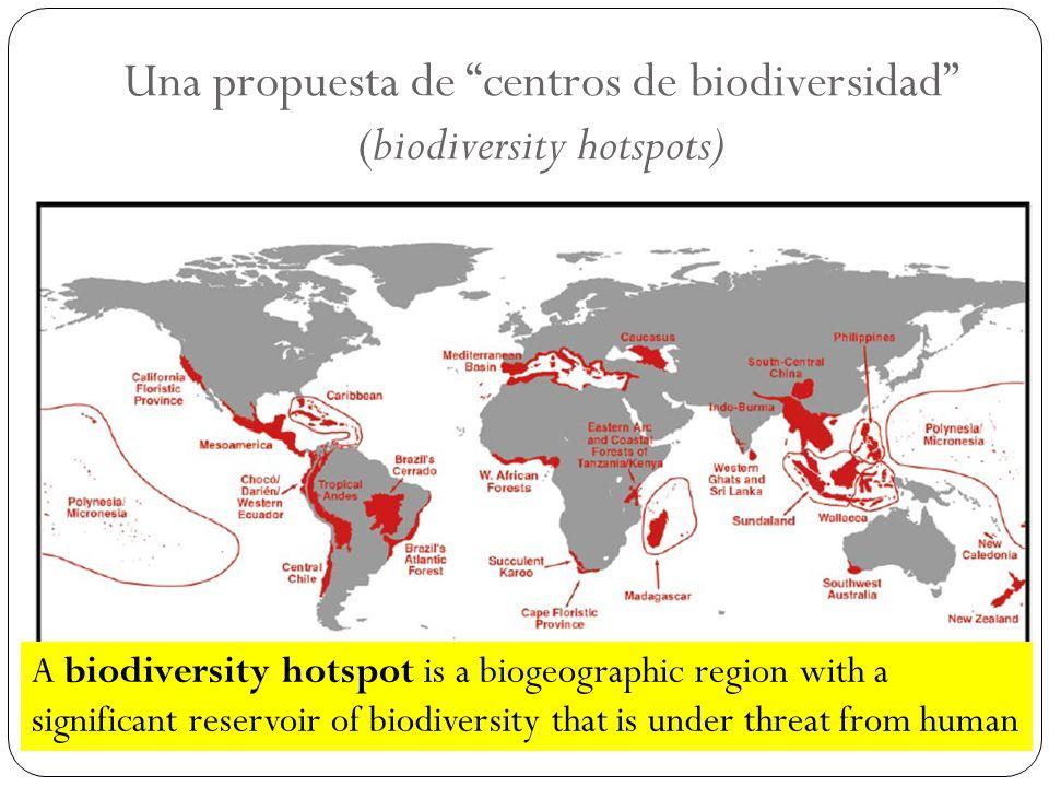Una propuesta de centros de biodiversidad (biodiversity hotspots)