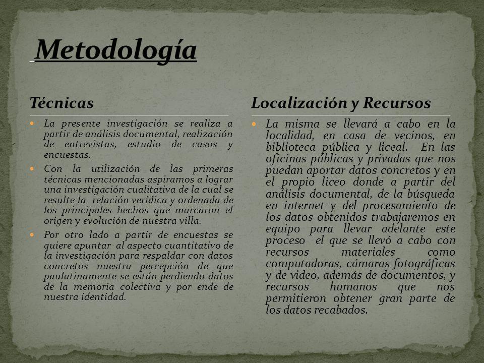 Metodología Técnicas Localización y Recursos