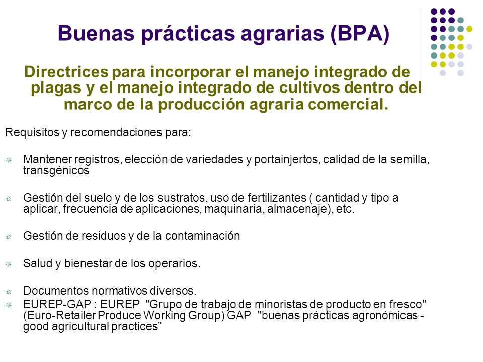 Buenas prácticas agrarias (BPA)