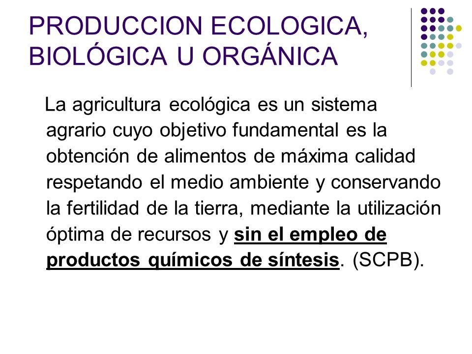 PRODUCCION ECOLOGICA, BIOLÓGICA U ORGÁNICA
