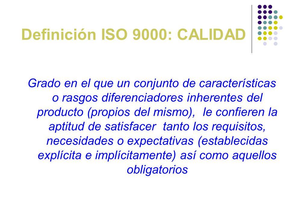 Definición ISO 9000: CALIDAD