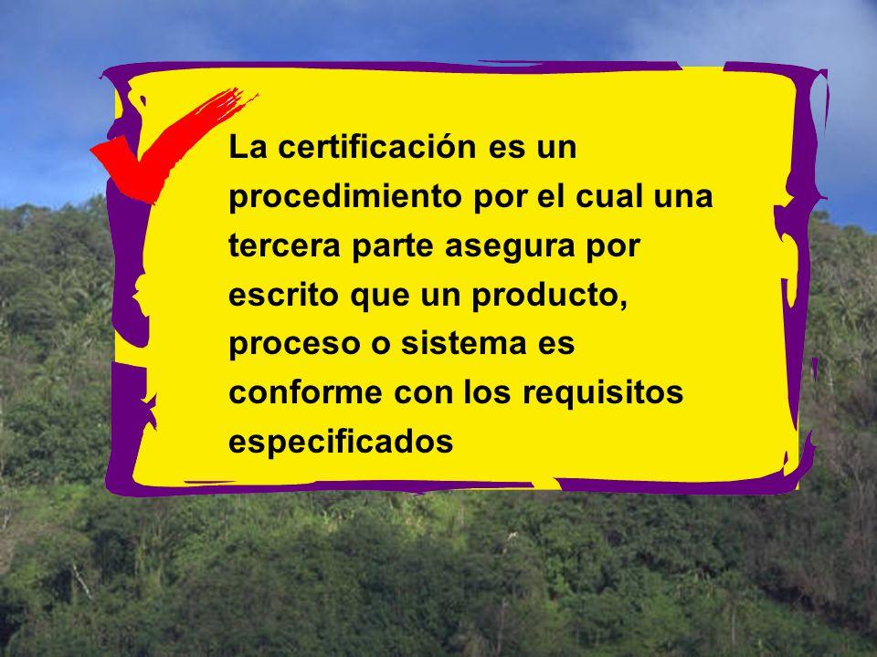 La certificación es un procedimiento por el cual una tercera parte asegura por escrito que un producto, proceso o sistema es conforme con los requisitos especificados