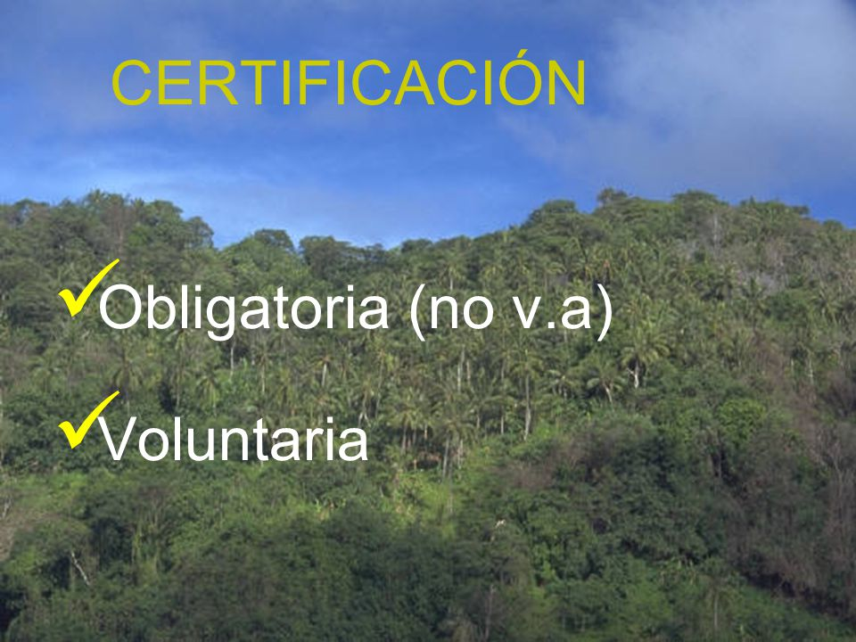 CERTIFICACIÓN Obligatoria (no v.a) Voluntaria
