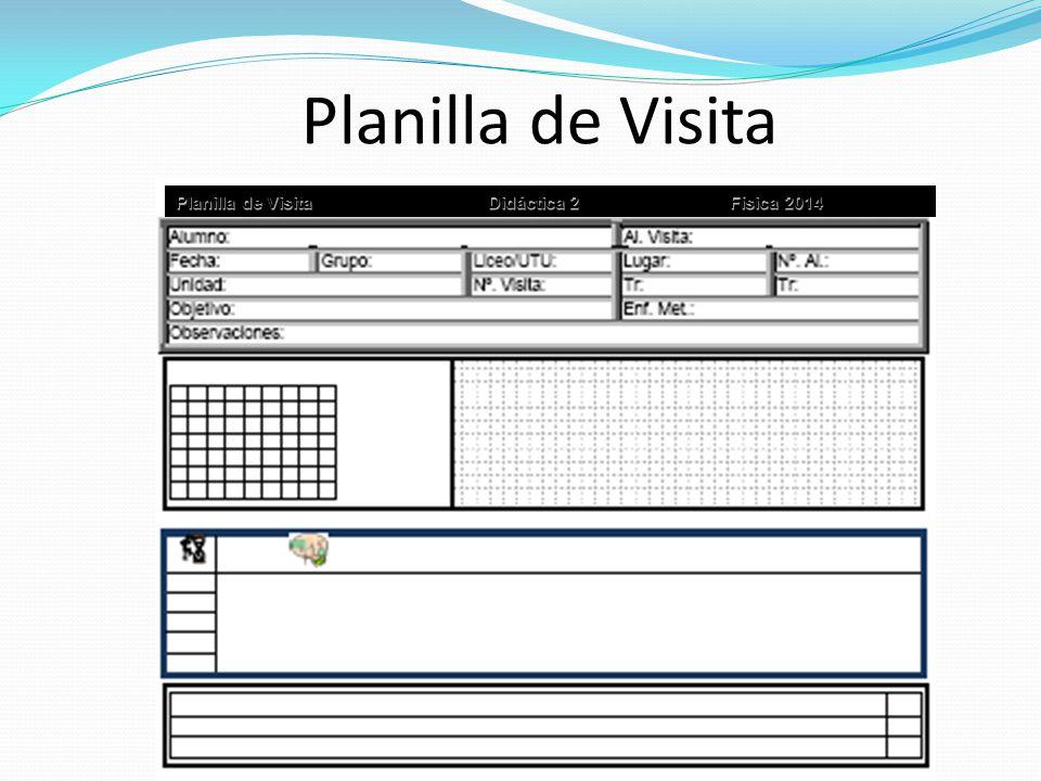 Planilla de Visita Planilla de Visita Didáctica 2 Física 2014