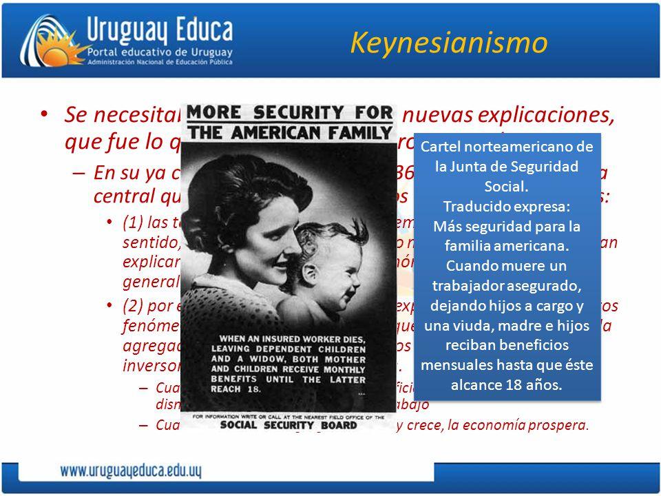 Keynesianismo Se necesitaban nuevas políticas y nuevas explicaciones, que fue lo que en ese momento proporcionó Keynes.