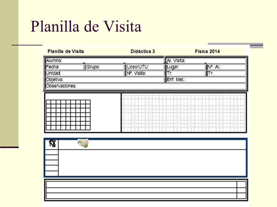 Planilla de Visita Planilla de Visita Didáctica 3 Física 2014