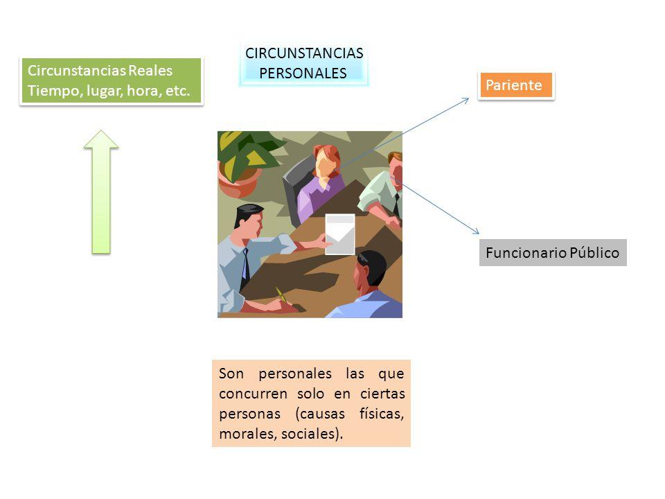 CIRCUNSTANCIAS PERSONALES. Circunstancias Reales. Tiempo, lugar, hora, etc. Pariente. Funcionario Público.