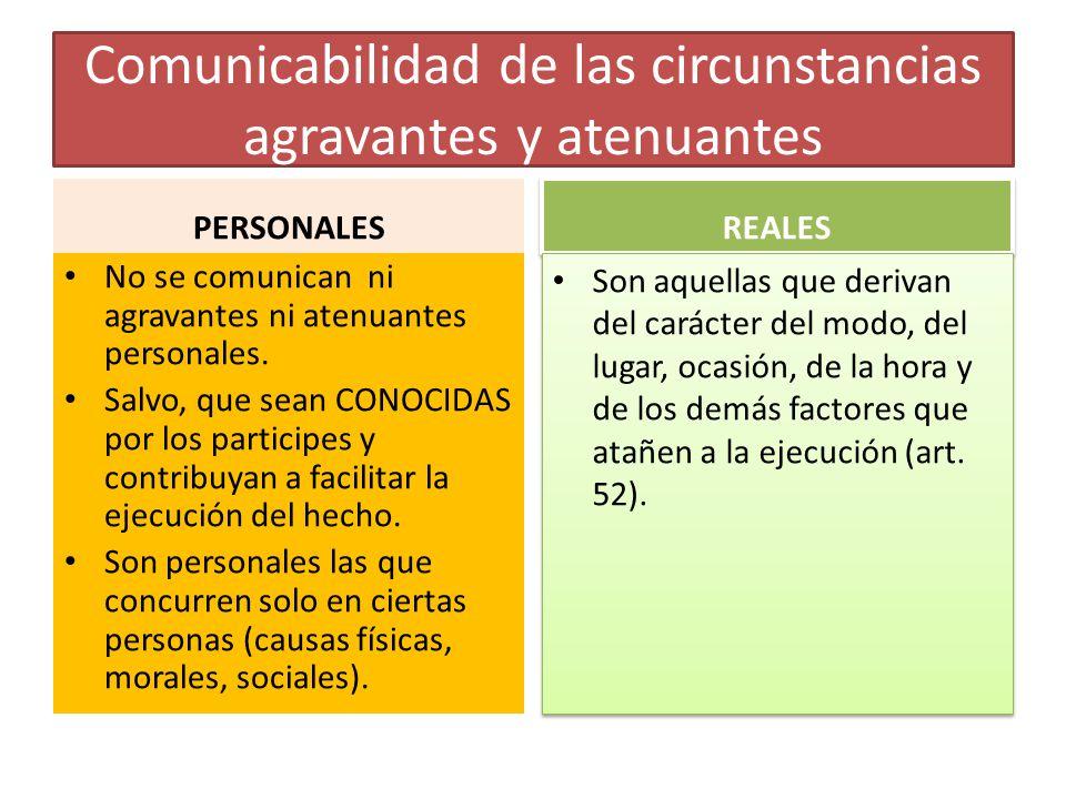 Comunicabilidad de las circunstancias agravantes y atenuantes