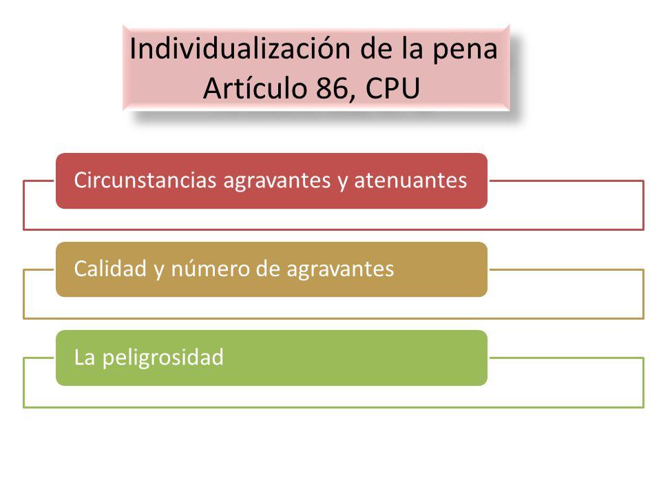 Individualización de la pena Artículo 86, CPU