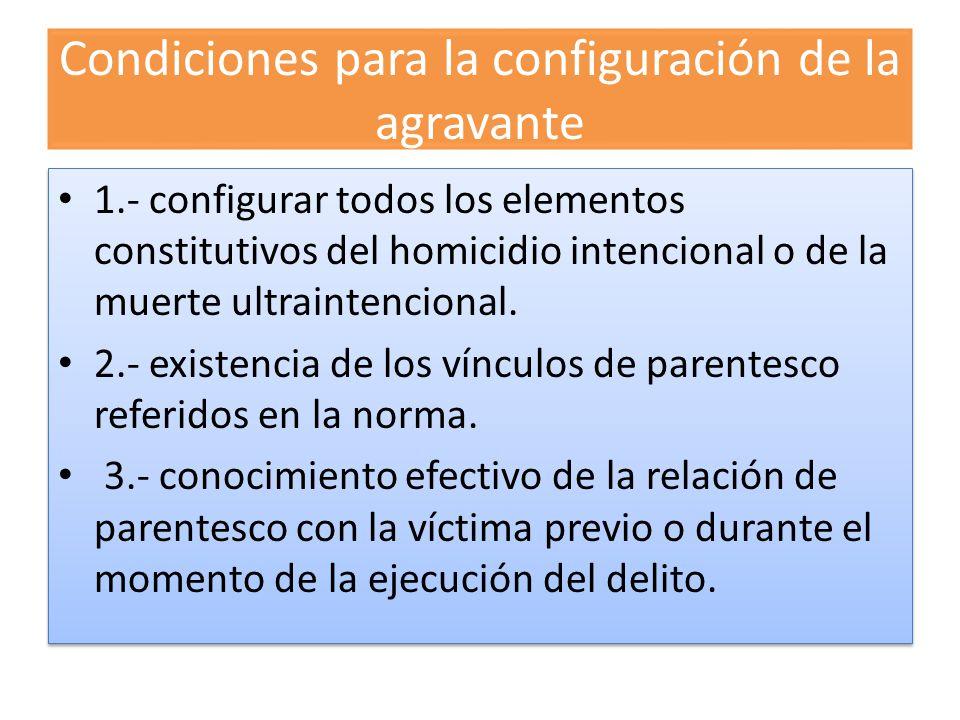 Condiciones para la configuración de la agravante
