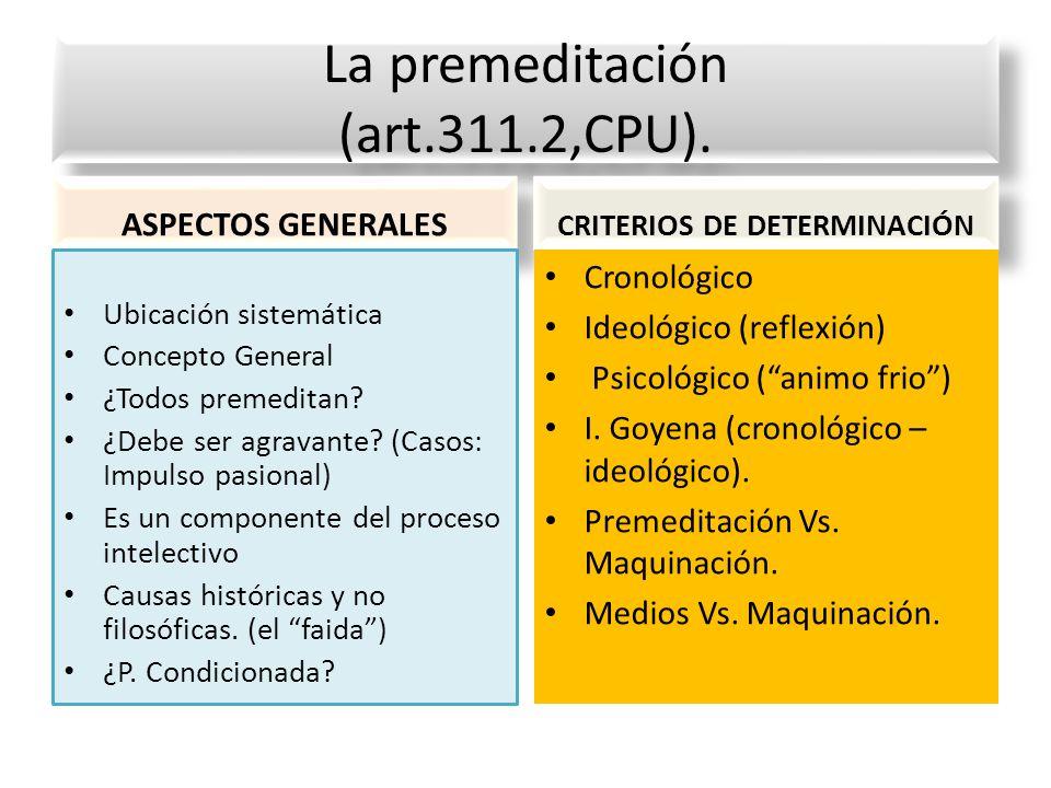 La premeditación (art.311.2,CPU).