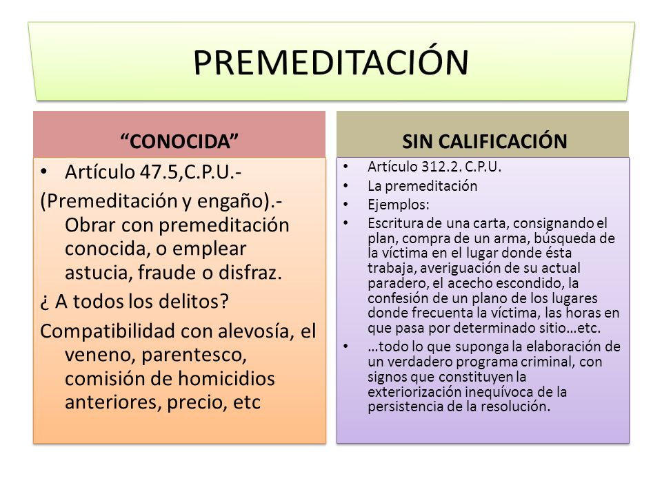 PREMEDITACIÓN CONOCIDA SIN CALIFICACIÓN Artículo 47.5,C.P.U.-