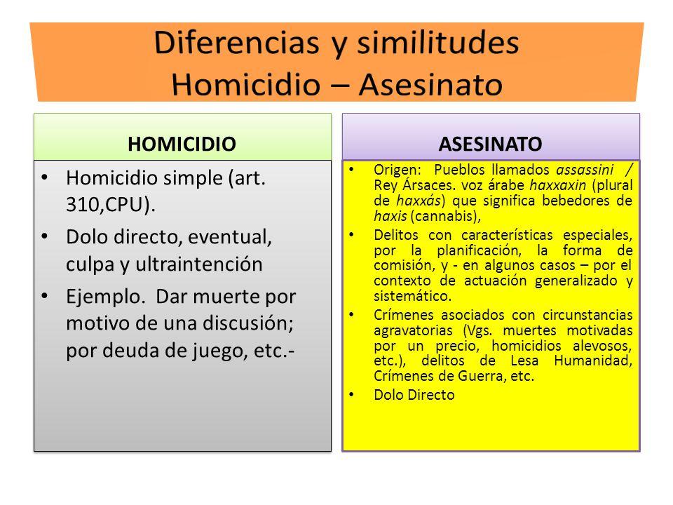 Diferencias y similitudes Homicidio – Asesinato