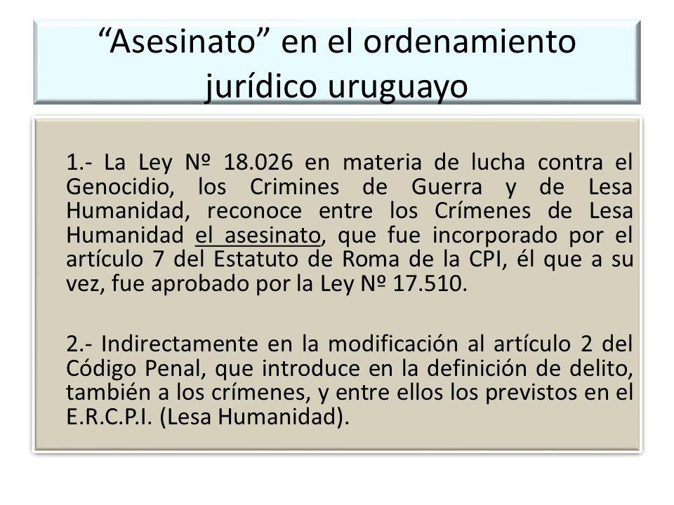 Asesinato en el ordenamiento jurídico uruguayo