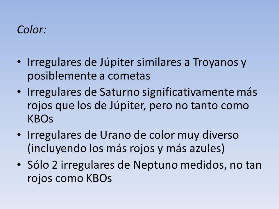 Color: Irregulares de Júpiter similares a Troyanos y posiblemente a cometas.
