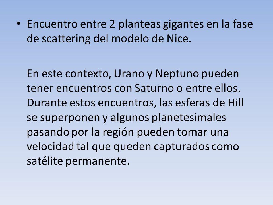 Encuentro entre 2 planteas gigantes en la fase de scattering del modelo de Nice.