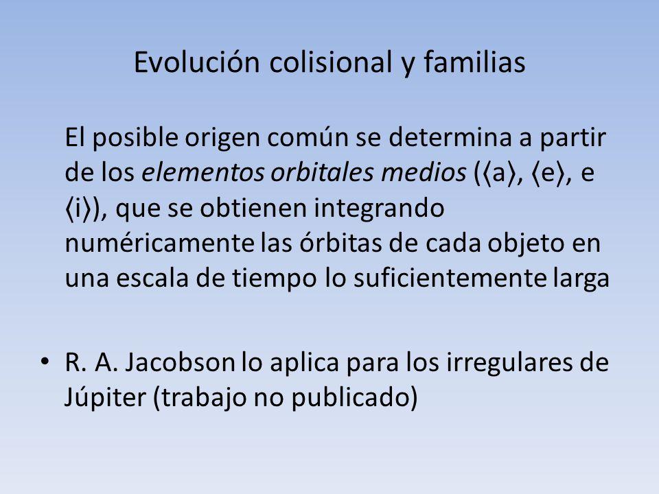 Evolución colisional y familias