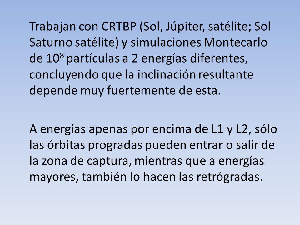 Trabajan con CRTBP (Sol, Júpiter, satélite; Sol Saturno satélite) y simulaciones Montecarlo de 108 partículas a 2 energías diferentes, concluyendo que la inclinación resultante depende muy fuertemente de esta. A energías apenas por encima de L1 y L2, sólo las órbitas progradas pueden entrar o salir de la zona de captura, mientras que a energías mayores, también lo hacen las retrógradas.