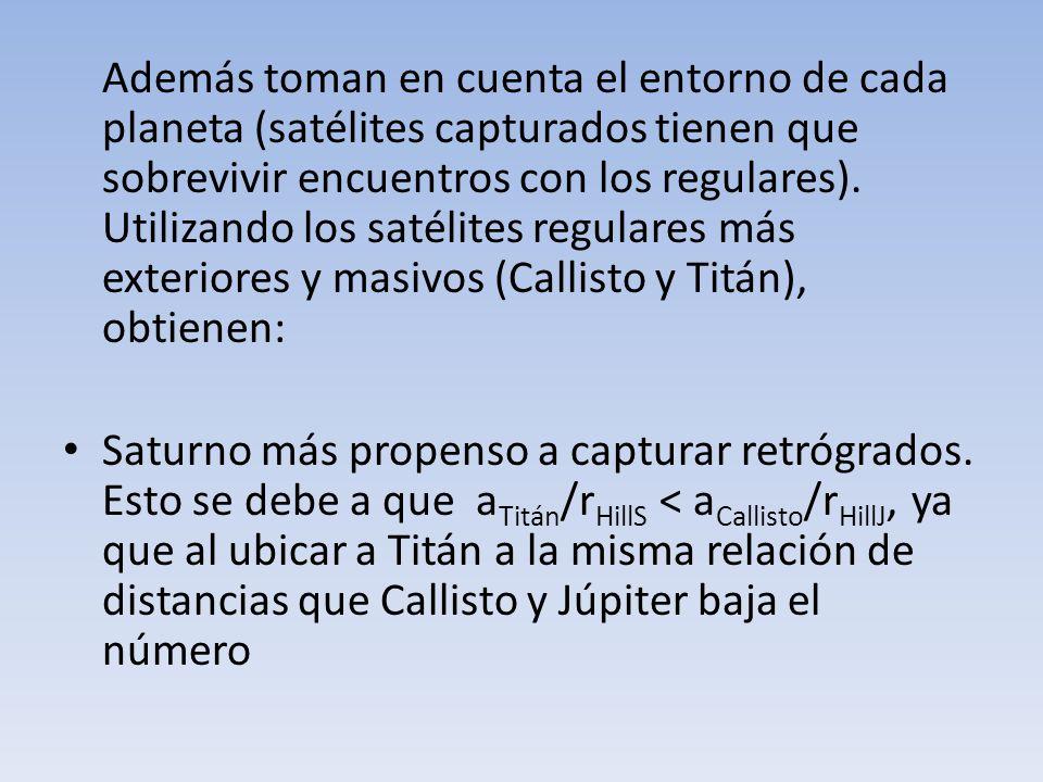 Además toman en cuenta el entorno de cada planeta (satélites capturados tienen que sobrevivir encuentros con los regulares). Utilizando los satélites regulares más exteriores y masivos (Callisto y Titán), obtienen: