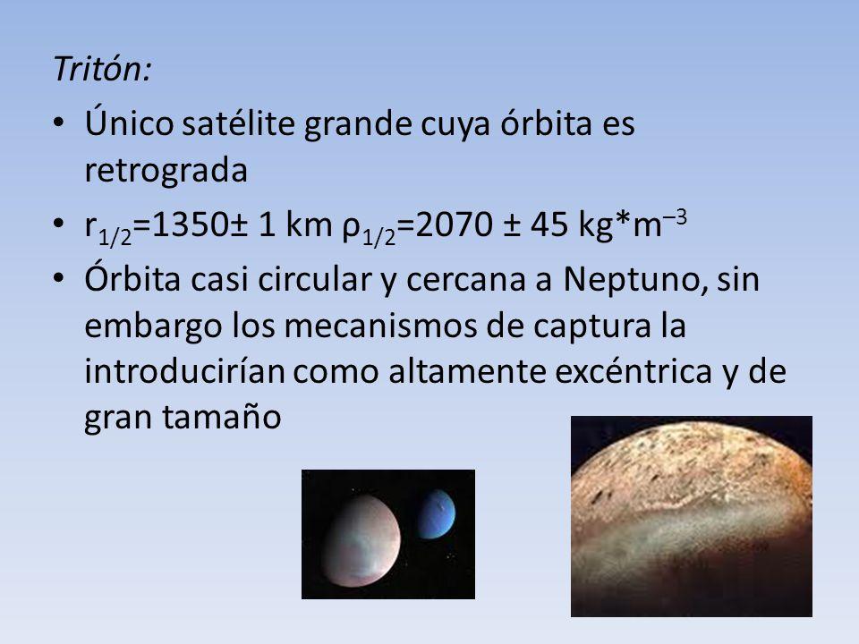 Tritón: Único satélite grande cuya órbita es retrograda. r1/2=1350± 1 km ρ1/2=2070 ± 45 kg*m–3.
