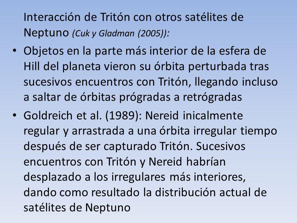 Interacción de Tritón con otros satélites de Neptuno (Cuk y Gladman (2005)):