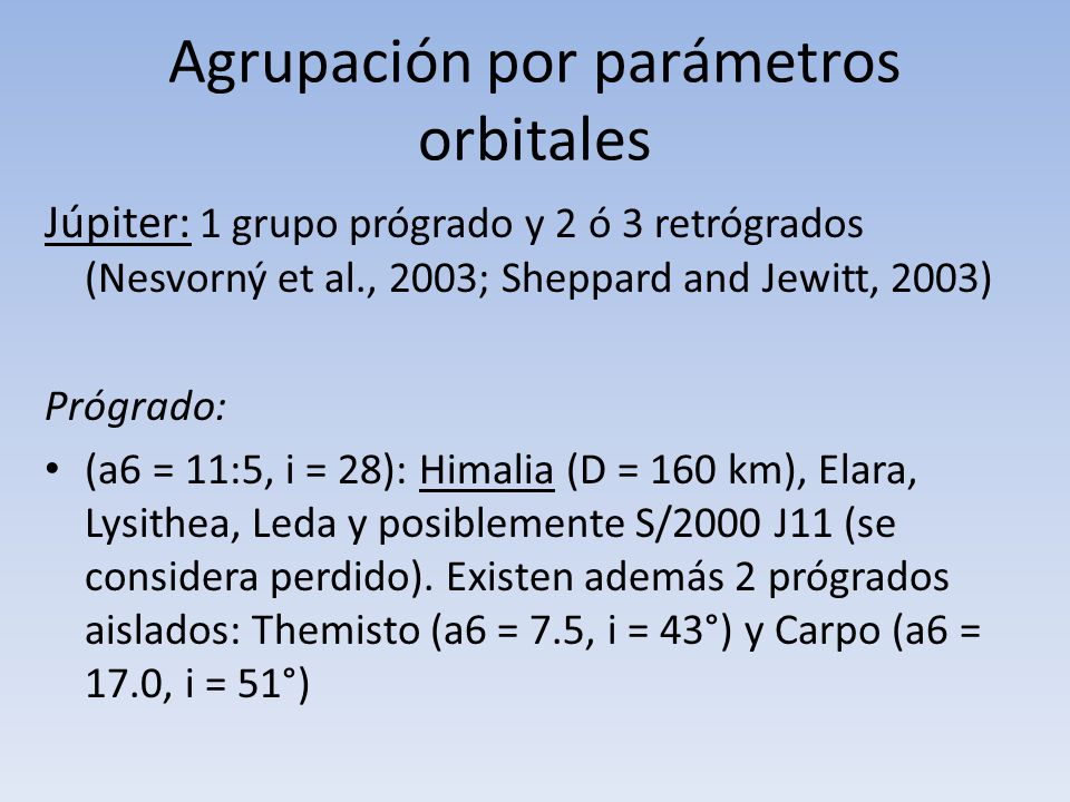 Agrupación por parámetros orbitales