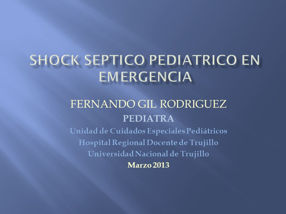 SHOCK SEPTICO PEDIATRICO en emergencia