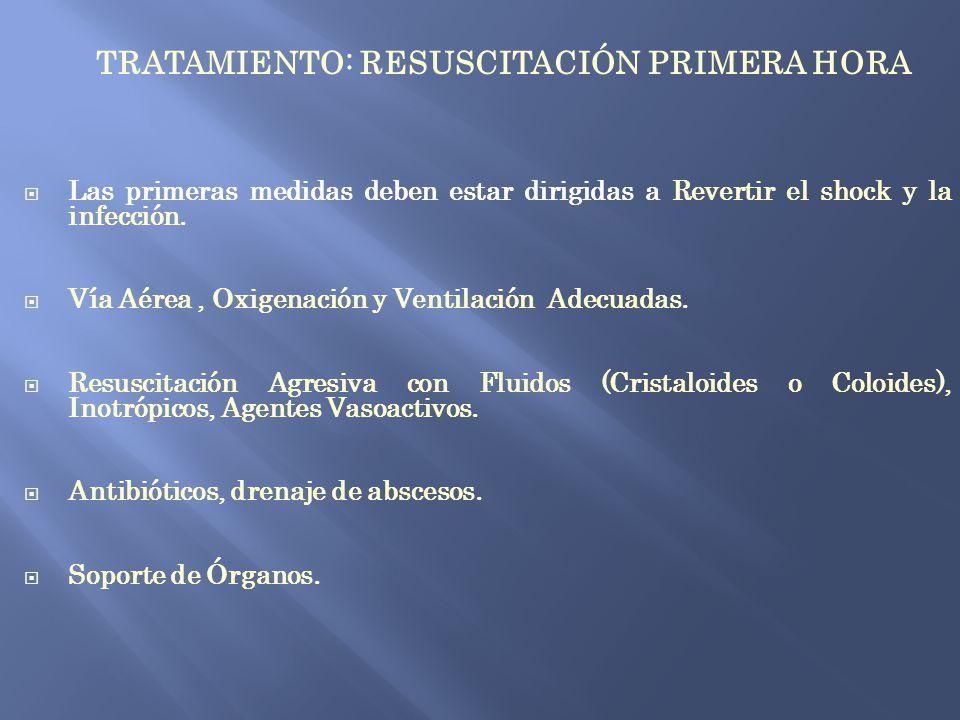 TRATAMIENTO: RESUSCITACIÓN PRIMERA HORA