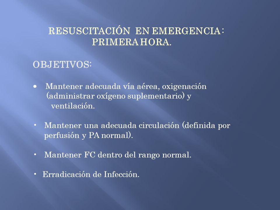 RESUSCITACIÓN EN EMERGENCIA : PRIMERA HORA. OBJETIVOS: